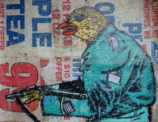 bast bird with gun Bast's Print, Collage and Gallery Art