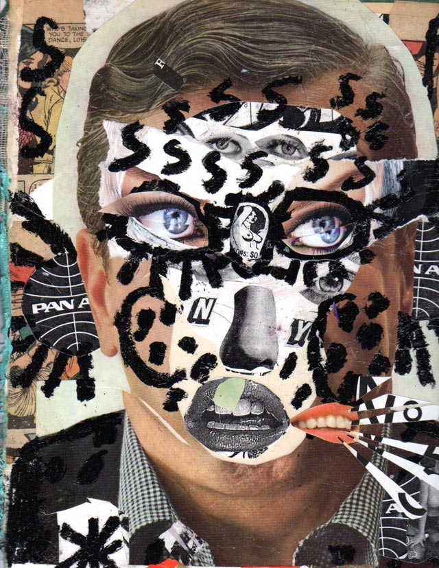 bast collage many eyes man Bast's Print, Collage and Gallery Art