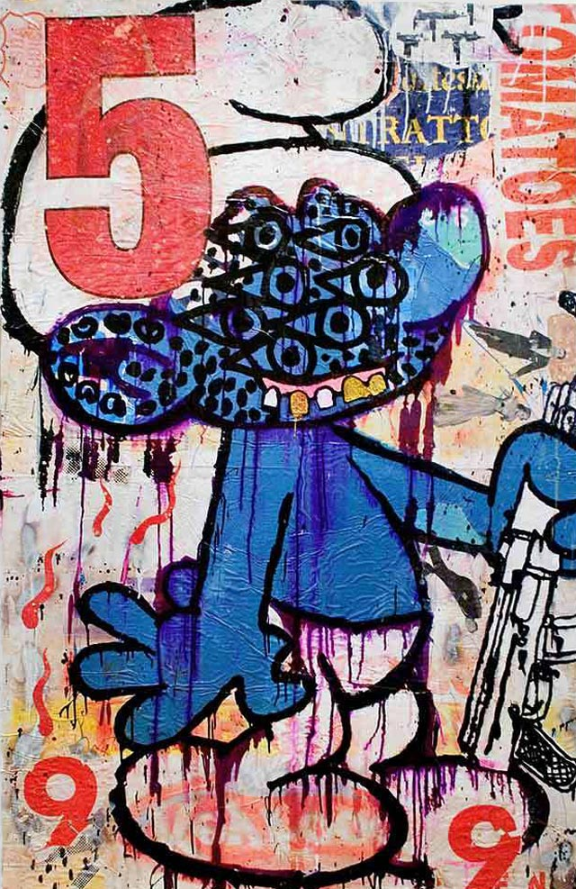 bast smurf with gun Bast's Print, Collage and Gallery Art